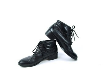 Black Leather Ankle Boots by SPORTO, Women's Size 8 1/2 M