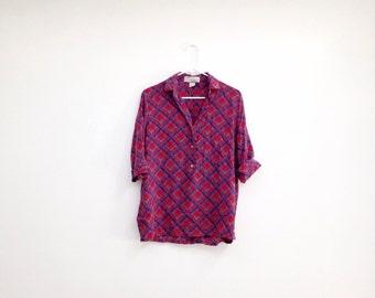 Vintage 1980s Pure Silk Plaid Blouse
