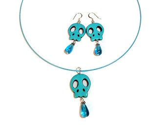 Aqua Turquoise  Skull Necklace Earring Set, Jewelry Set,  Day of the Dead Jewelry,  Dia de los Muertos, Sugar Skull