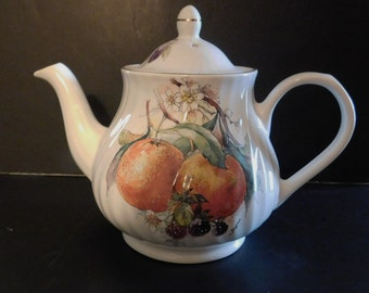 Arthur Woods & Sons Teapot Pattern # 6361 Fruit Orange and Berries  Beautiful Condition