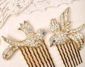 Gold Rhinestone Love Bird Wedding Hair Comb PAIR, Small Vintage OOAK Bridal Hair Accessories Set 2 Something Blue, Garden Romantic Hairpiece