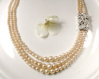Antique Art Deco Pearl Necklace Vintage 1930s Champagne Ivory Pave Rhinestone Multi Strand Pearl Bridal Necklace Ornate Clasp Gatsby Wedding