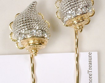 Gold Rhinestone Seashell Bridal Hair Pins, PAIR Hair Clip Accessories, Sea Shell Bobby Pins, Set 2 Bridesmaid Gift Destination Beach Wedding
