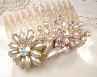TRUE Vintage Gold Ivory Pearl & Champagne Rhinestone Bridal Hair Comb Floral Spray Rustic Chic Country Hairpiece Wedding Accessory Headpiece