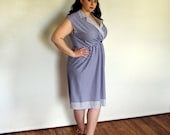 Vintage Plus Size Dress/Blue and White Polka Dots and Striped Dress Size 18 Size 20 extra large XL XXL 1X