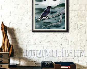 Raven Painting Crow Wall Art Crow Moon Art Office Decor for Women Gifts Digital Print Crow Gift DIY Decor Magical Gifts Watercolor Print