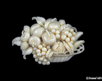Celluloid Brooch Fruit Basket Faux Ivory Color Fruits & Vegetables Thanksgiving