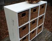 White Wood Storage Cubby Organizer with Wicker Baskets