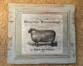 Sheep French Country Sign Wood Sign Decor Gray Black