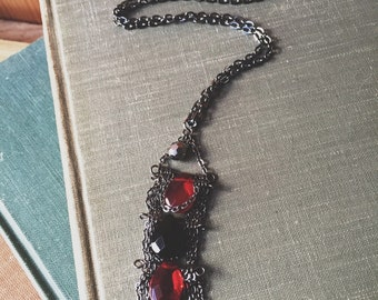 Gothic Gunmetal Black and Red Necklace