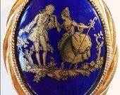 unsigned Limoges style pastoral cameo pin