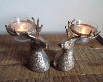 Pair of Vintage Reindeer / Stag / Deer Head Candle Holders