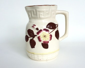 Antique Majolica Milk Pitcher White with Brown, Pink, and Yellow Floral Design