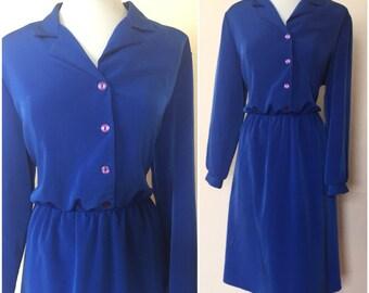Anthony Richards // Plus Size Dress // Long Sleeved Royal Blue Dress