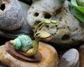 OOAK Fae Snail sculpture  garden sculpture