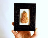 Ready to Ship! 3D Butternut Squash in a Mini Frame. Punchneedle Embroidery Fiber Art. Home, Office, Kitchen Decor. Orange and Cream. Foodie