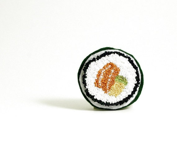 Salmon Avocado Roll Faux Sushi Pin. Orange, Green, Yellow, White. Punchneedle Embroidery Food Art. Eco Friendly. Quirky Fun Foodie Gift