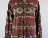 SALE - Vintage Navajo Tribal Print Southwestern Weathered Look Fall Winter Shirt - Mens Size Large