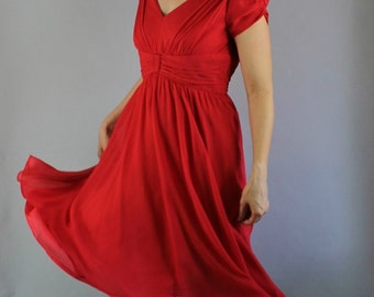 Red Silk Chiffon Dress, Retro 50s, Fit and Flare, Party Dress, Sexy Dress, vlv, Full Skirt, Midi, Pinup, Bombshell, Medium. FREE SHIPPING