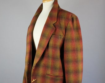 Vintage 80s Women's Anne Klein Brown Moss Ombre Plaid Wool Blend Fall Wear to Work Rustic Blazer Jacket, Size Large