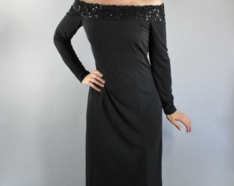 Vintage 80s Women's Black Off Shoulder Sequined Maxi Length Gown Holiday Party Dress