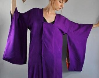 Vintage 20s 30s Orchid Purple Haori Geisha Kimono Boudoir Robe
