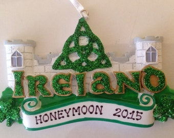Personalized Ireland, St. Patrick's Day, Clover, Irish Ornament, Irish Luck - Wedding favor,Travel Christmas Gift