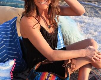 Indian Blanket Bag, Caramel Leather Hobo, Leather Crossbody, Leather Purse, Tribal Bag, Boho Leather Bag, Navajo Style Bag, Hobo Bag