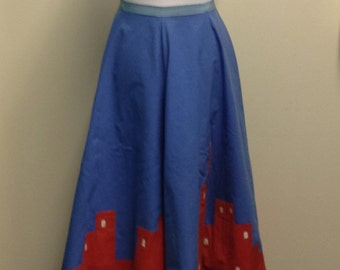 Vintage 1950's Red and Blue Skyline Skirt