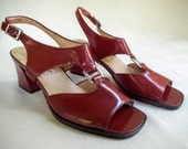 Vintage 1970s Burgundy Red Patent Leather T-Strap Slingback Style Sandals, Silvertone Buckles, 2.5 Inch Heels, by Calico, US Size 8.5 M
