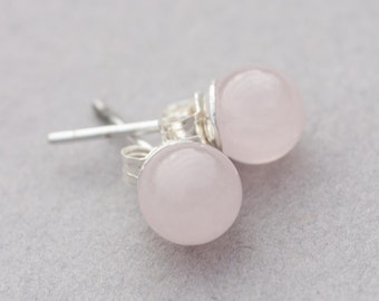 Rose quartz stud earrings on sterling silver posts