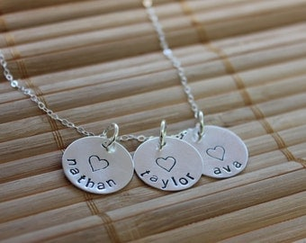 Family Necklace, Hand Stamped Three Charm Name Necklace in Sterling Silver