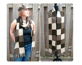Hand Knitted Scarf with Fringe, Square Block Pattern, Autumn Fashion, Winter Scarf, Mens Scarf, Womens Fashion - Brown Taupe Earth Colors