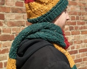 Knitted Slouchy Beanie, Striped Mens Beanie, Color Blocking Beanie Hat, Winter Fashion Accessory, Hand Knit Striped Hat - Red Yellow Green