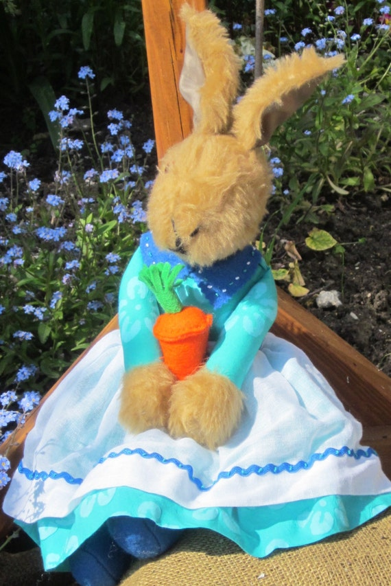 Stuffed Jemima Brown Bunny Toy Plush Rabbit Girl Toy Collectable Gift Sea Green Poplin  Frock Orange Carrot (opt) Christmas Present