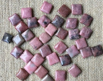 ON SALE 10mm Square Rhodonite - 35 beads