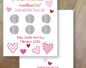 Valentine Sweetheart Gender Reveal, Set of 12 Scratch off Cards for a Baby Shower or Gender Reveal Party Hearts