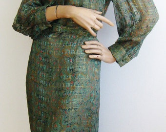 Vintage 60s Nat Kaplan Couture Green & Gold Metallic Paisley Print Silk Shirt Dress