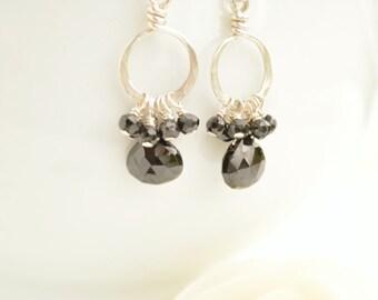 Black Spinel & Silver Drop Earrings