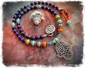 Indie HAMSA NECKLACE Protection Amulet Colorful Boho OM Yoga Chic jewelry Lapiz Lazuli Womens fashion Fatima Hand gemstone necklace GPyoga