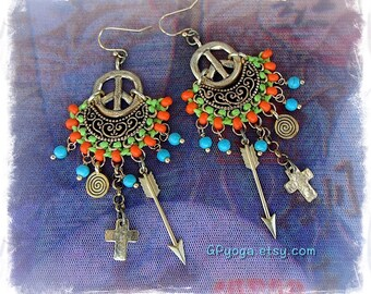 Gold PEACE sign Earrings INDIE Earrings ARROW Cross earrings Hippie Gypsy earrings Spiral earrings Hippie Beaded Boho Peace on Earth GPyoga