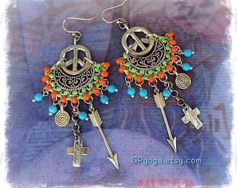 Gold PEACE sign Earrings INDIE Earrings ARROW Cross earrings Hippie Gypsy earrings Spiral earrings Hippie Beaded Boho Peace on Earth GPyoga
