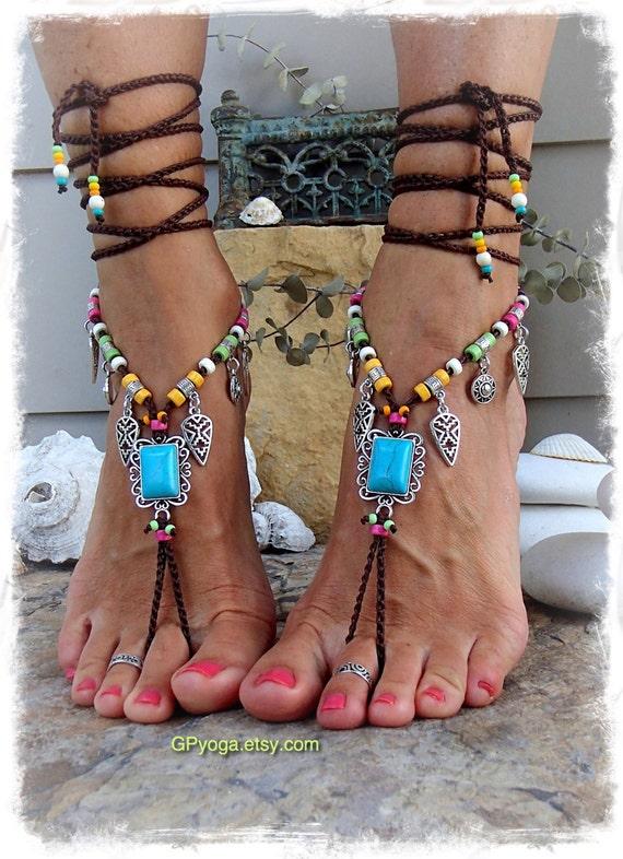 Turquoise Boho Barefoot Sandals Festival Sandal Native By