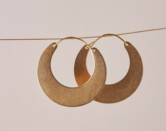 Gold Half Moon Tribal Hoop Earrings | Creole hoop earrings | Crescent moon hoop earrings | Brass Jewellery | Half hoop earring | Nickel free