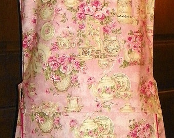 Kitchen Cobbler Lined Apron Smock Tea for Two Rose Garden Handmade for Kitchen Cooking Craft Activities Excellent Clothes Protector