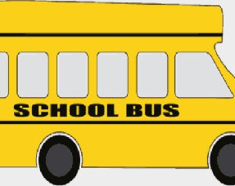 School bus digital embroidery design, Bus digitized embroidery design