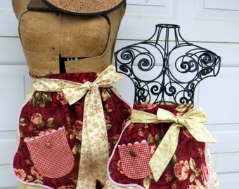 Mother Daughter Matching Half Apron Set Cottage Chic Shabby Chic Spring Aprons