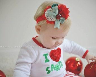 Reindeer Games red, green white and black polka dot rosette burlap and chiffon headband