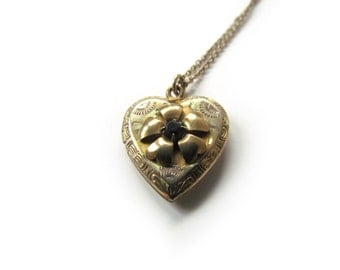 Vintage Heart Locket With Purple Rhinestone c.1940s