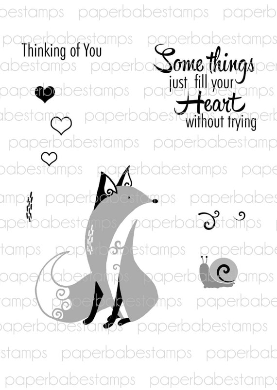 Whimsical Woodland Stamp Set 1(fox) - Paperbabe Stamps - Clear Photopolymer Stamps - For paper crafting and scrapbooking.